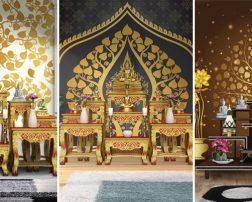 วอลเปเปอร์สั่งพิมพ์ลายไทยต้นโพธิ์ ติดห้องพระ ห้องพระลายไทย