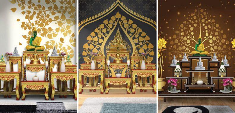 พิมพ์ภาพ แต่งผนังห้องลายไทย ติดห้องพระลายต้นโพธิ์ทองสวยๆ ชุดที่2