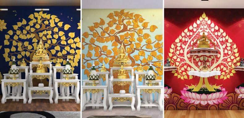 พิมพ์ภาพ แต่งผนังห้องลายไทย ติดห้องพระลายต้นโพธิ์ทองสวยๆ ชุดที่1
