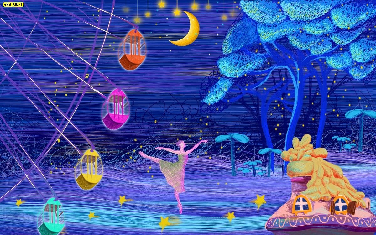วอลเปเปอร์ลายเด็กหญิงเต้นบัลเล่ต์พื้นฟ้า
