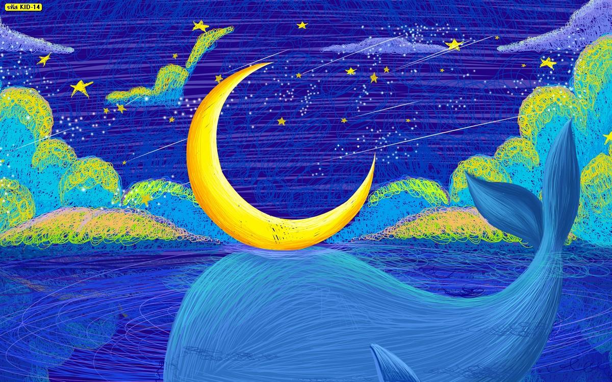 วอลเปเปอร์ลายวาฬสีฟ้า ดวงจันทร์