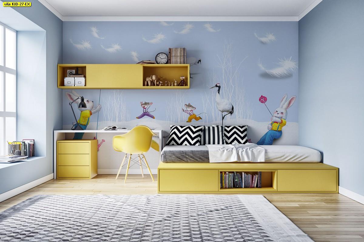 ห้องนอนเด็ก ไอเดียห้องเด็กสีฟ้า ตกแต่งห้องเด็ก วอลเปเปอร์ลายกระต่าย