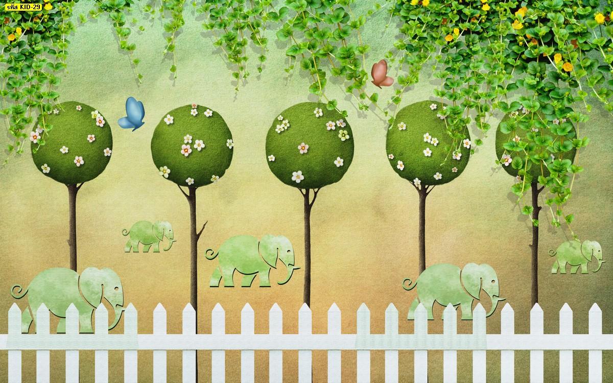 วอลเปเปอร์ลายต้นไม้ สีเขียว