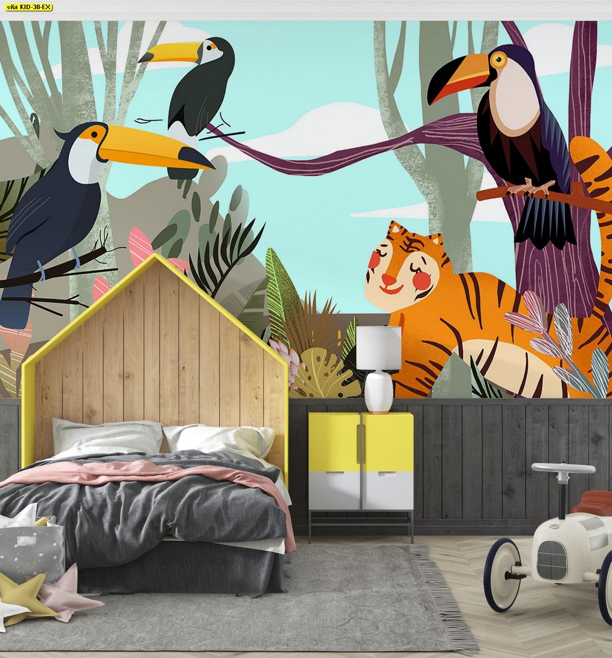 แต่งห้องนอนเด็ก ห้องนอนลูก ไอเดียแต่งห้องลูกรัก วอลเปเปอร์ลายสวนสัตว์