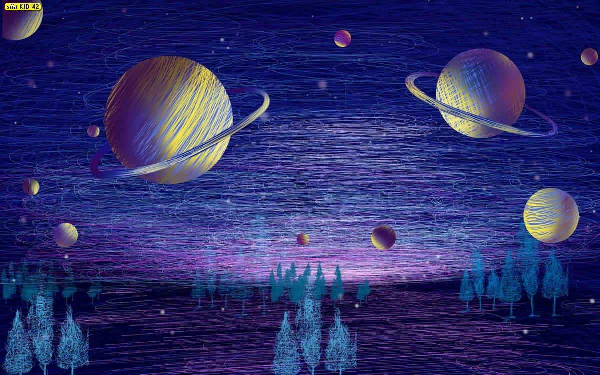 ภาพวิวกาแลคซี ดาว อวกาศ พื้นสีม่วง