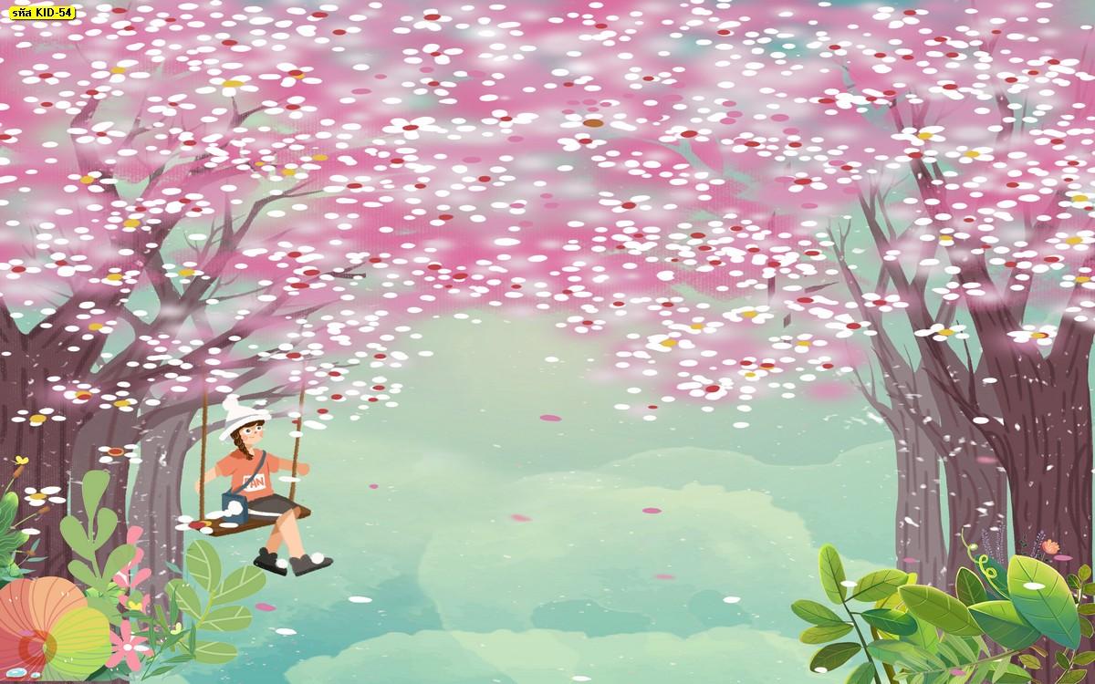 วอลเปเปอร์ลายต้นซากุระ สีชมพู