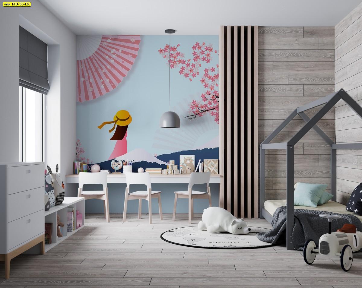แต่งห้องนอนน่ารักญี่ปุ่น ต้นซากุระสีชมพู แต่งห้องนอนเด็ก ภูเขาฟูจิ ห้องนอนเด็กผู้หญิง