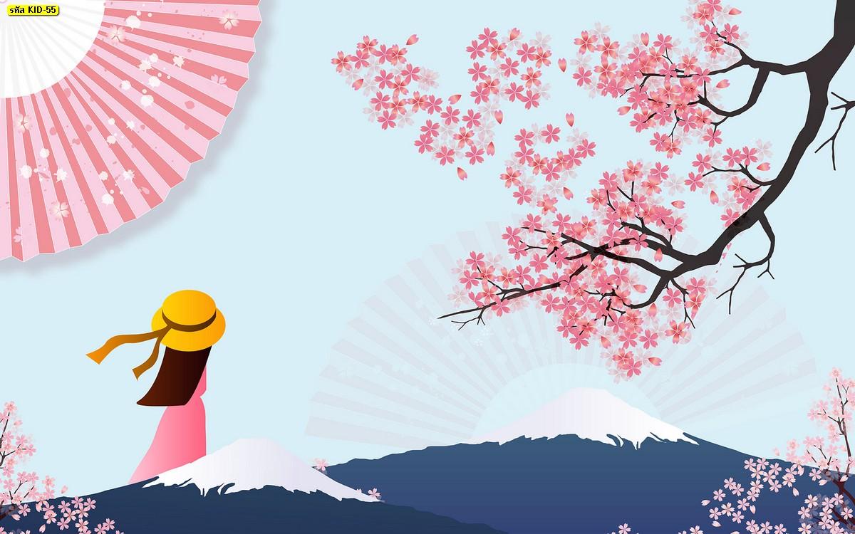 วอลเปเปอร์ลายซากุระ สีชมพู