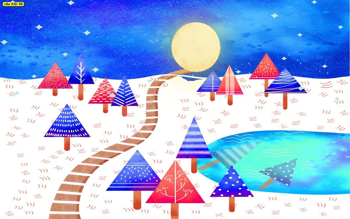 วอลเปเปอร์ลายดวงจันทร์และต้นคริสมาส