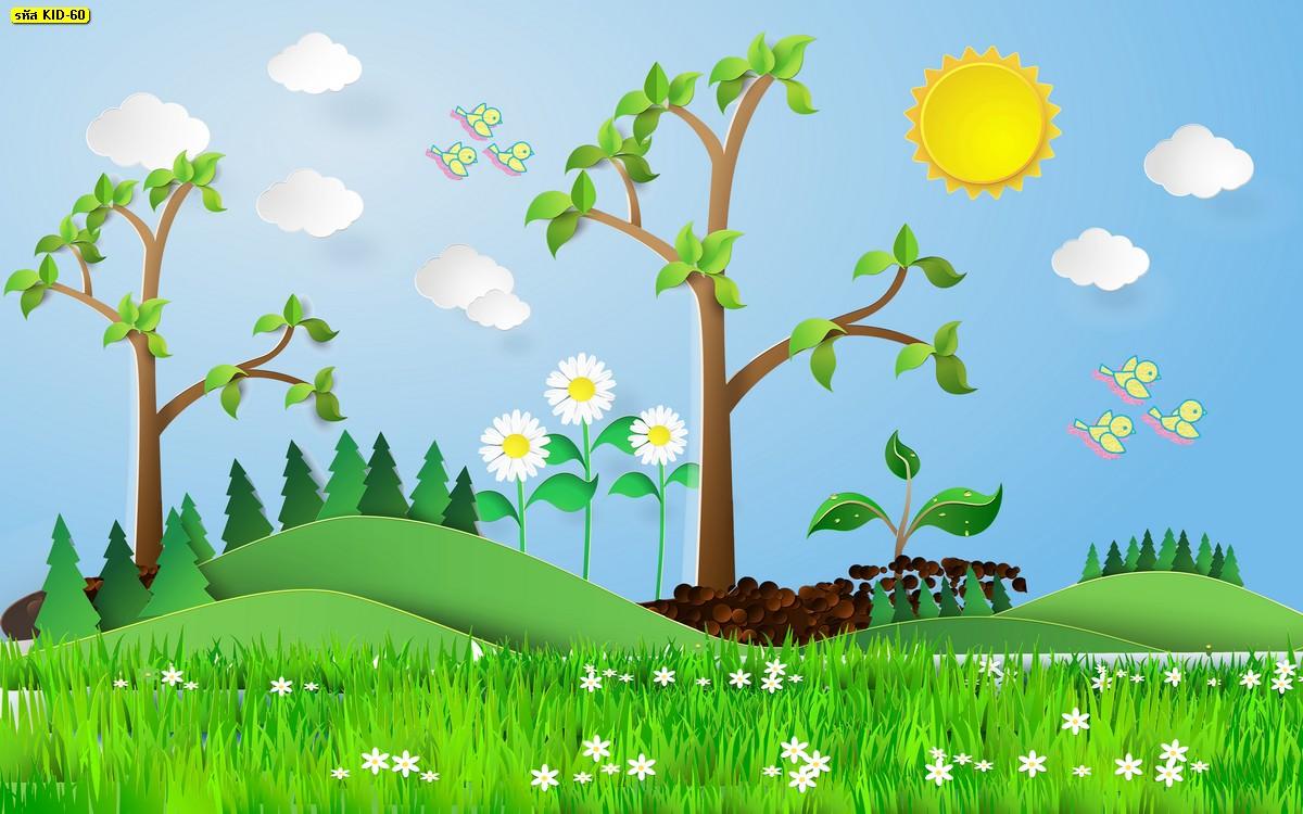 วอลเปเปอร์ลายต้นไม้การ์ตูนเขียว