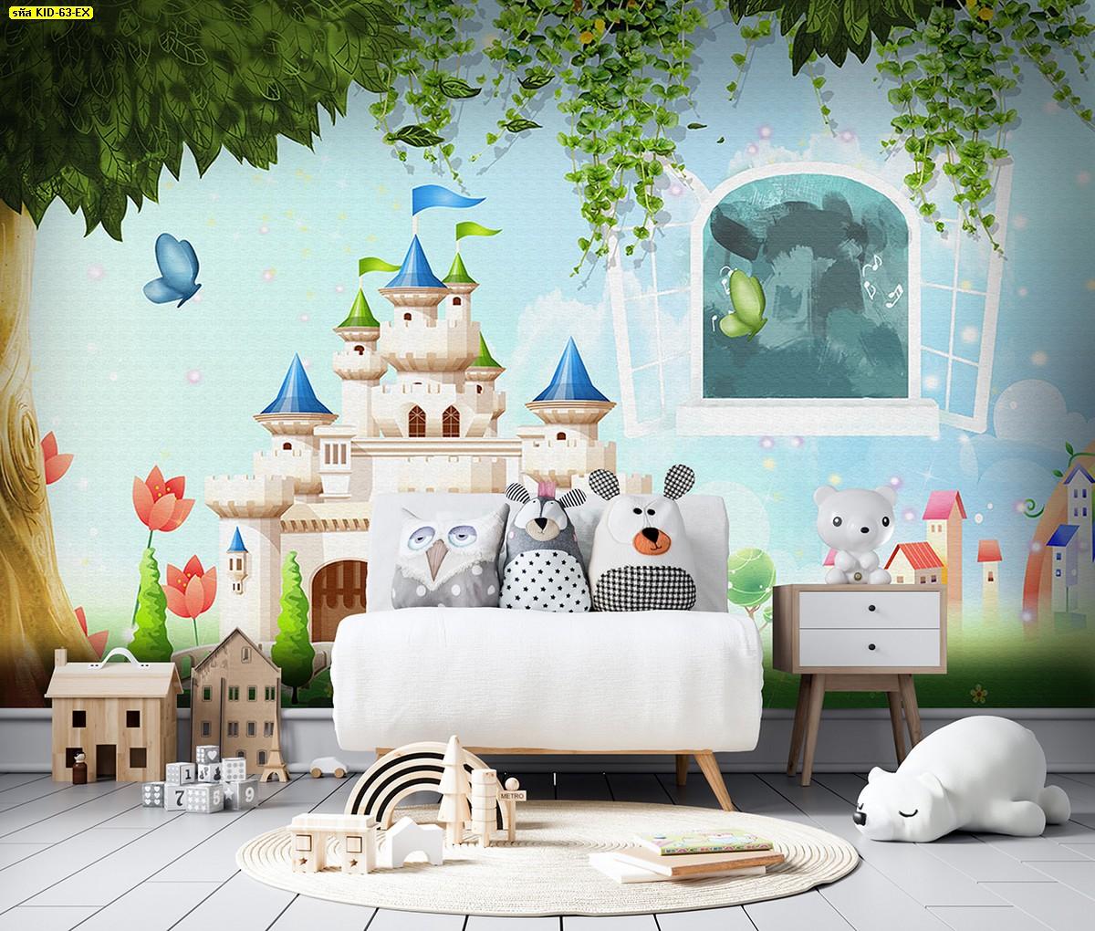วอลเปเปอร์ลายปราสาทและก้อนเมฆสีฟ้า ตกแต่งห้องเล่นเด็ก ห้องเด็กเล่น จัดมุมของเล่นให้ลูก