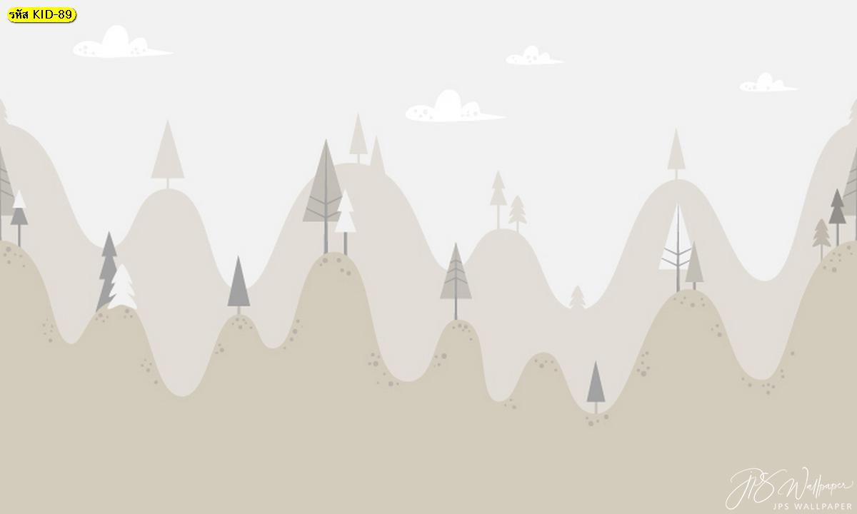 วอลเปเปอร์การ์ตูน ต้นไม้บนภูเขา