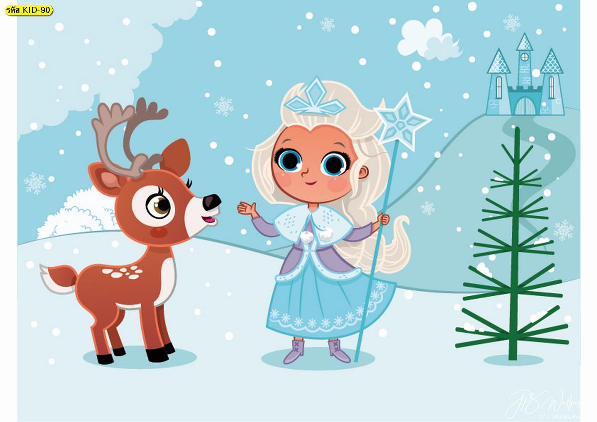 วอลเปเปอร์การ์ตูน เด็กสาวกับกวางเรนเดียร์เล่นหิมะ