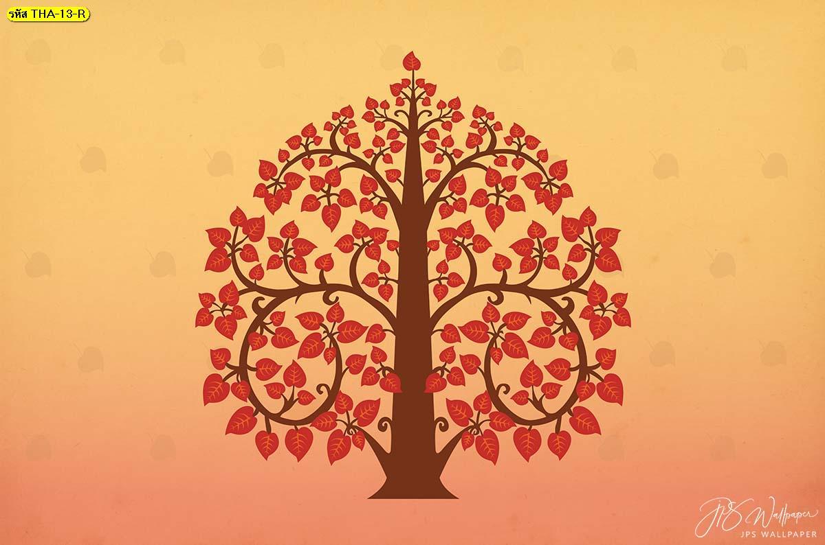 วอลเปเปอร์ลายต้นโพธิ์การ์ตูนพื้นหลังสีแดง การ์ตูนต้นไม้