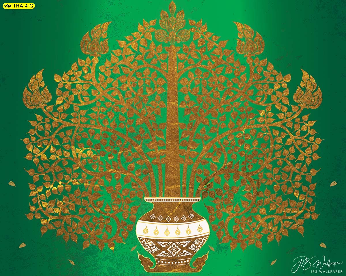 วอลเปเปอร์ลายไทยแจกันต้นโพธิ์ทองพื้นหลังสีเขียว ฉากหลังห้องพระสวยๆ วอลเปเปอร์ห้องพระ