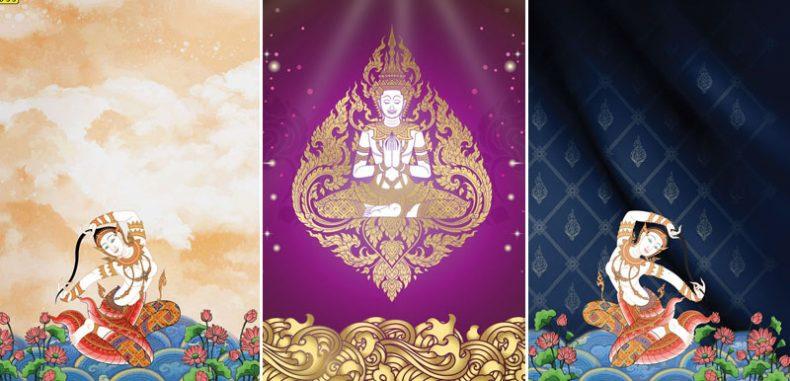 ติดฉากหลังห้องพระลายไทยสวยๆ สั่งทำภาพพิมพ์ลายไทยเทพ-เทวดา