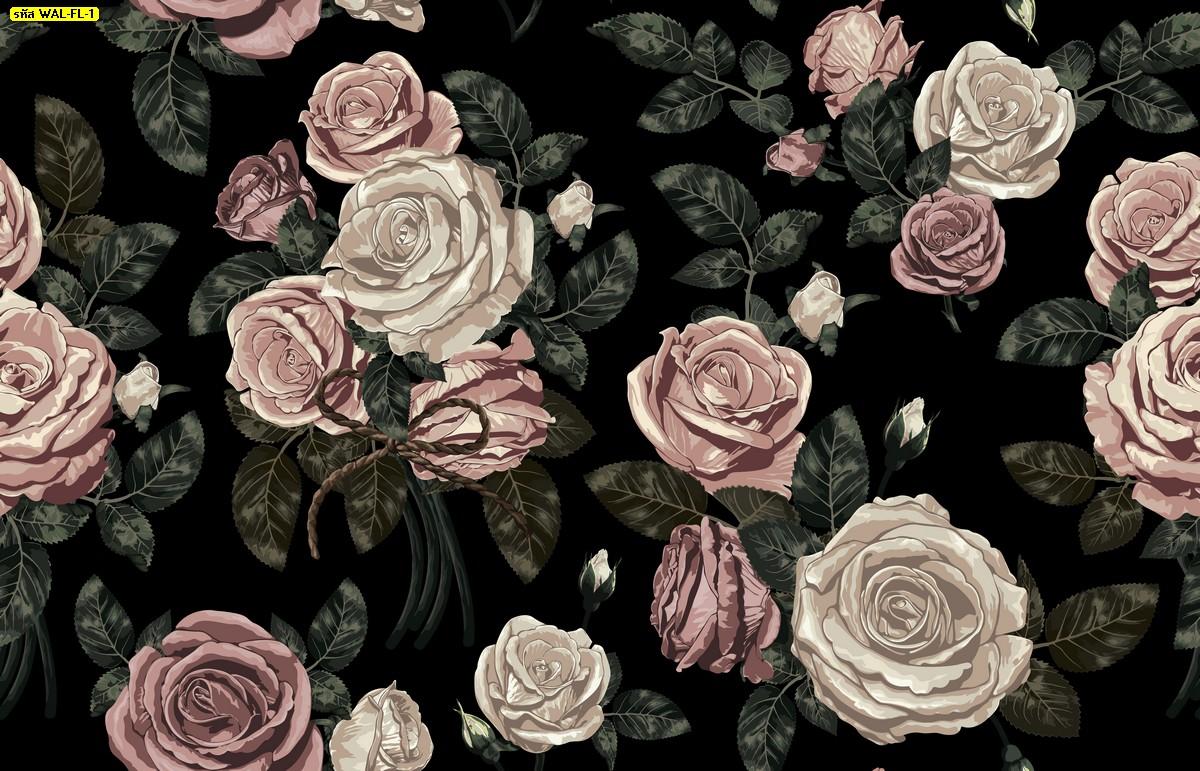 วอลเปเปอร์สั่งพิมพ์ต่อลายดอกกุหลาบวินเทจพื้นสีดำ