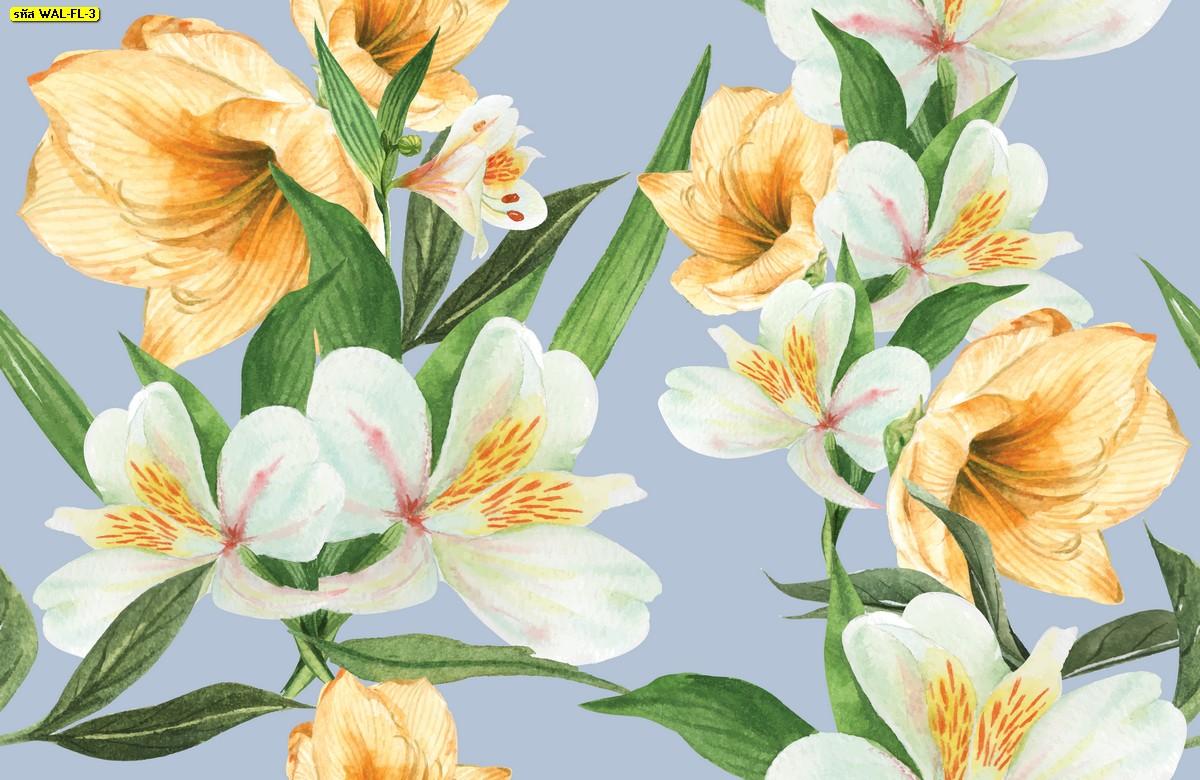 วอลเปเปอร์สั่งพิมพ์ต่อลายดอกไม้พื้นสีม่วง