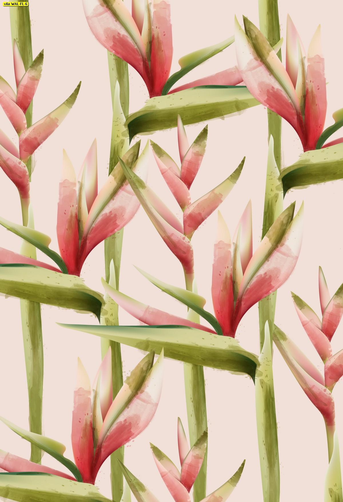 วอลเปเปอร์สั่งพิมพ์ต่อลายก้านดอกไม้พื้นสีชมพู