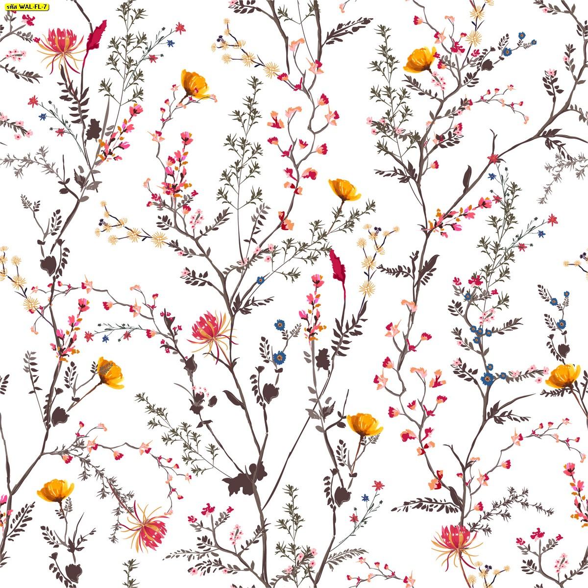 วอลเปเปอร์สั่งพิมพ์ต่อลายก้านดอกไม้พื้นสีขาว