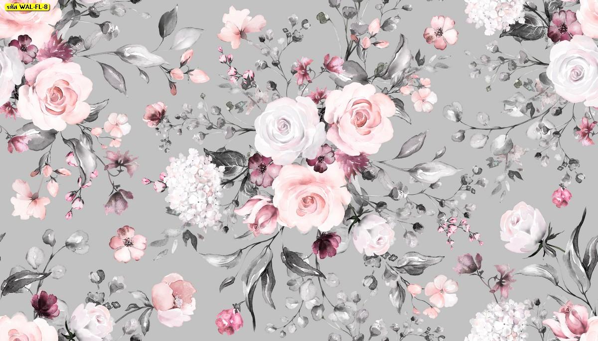 วอลเปเปอร์สั่งพิมพ์ต่อลายช่อดอกไม้พื้นสีเทา