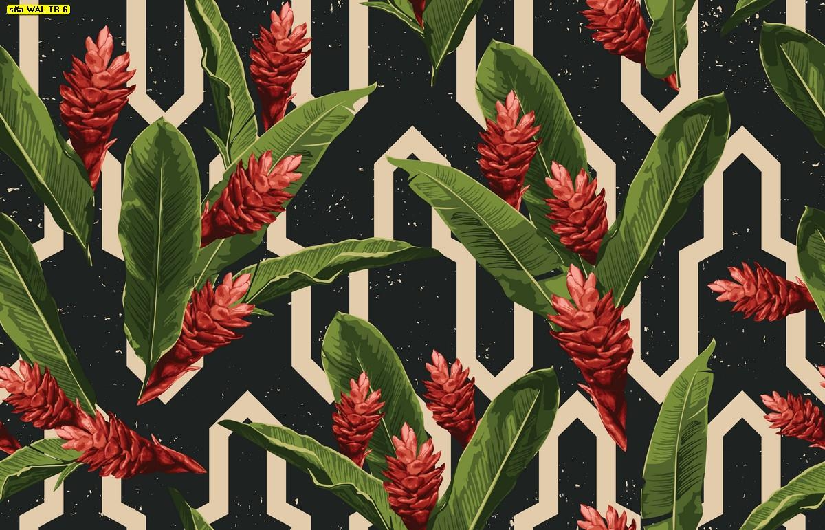 วอลเปเปอร์สั่งพิมพ์ต่อลายดอกไม้สีแดงพื้นหลังลายเส้นสไตล์โมเดิร์น