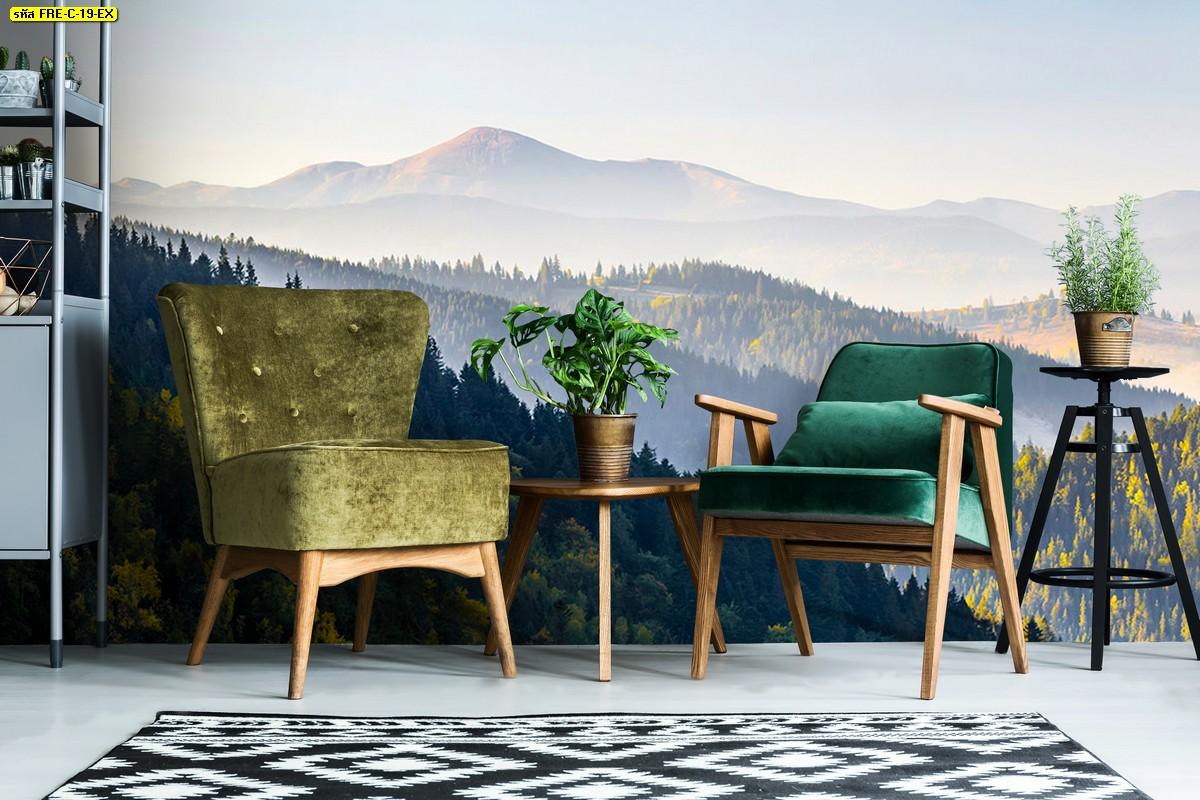 ไอเดียห้องนั่งเล่นเฟอร์นิเจอร์สีเขียว ตกแต่งต้นไม้และวอลเปเปอร์ภูเขาธรรมชาติสวย สดชื่น