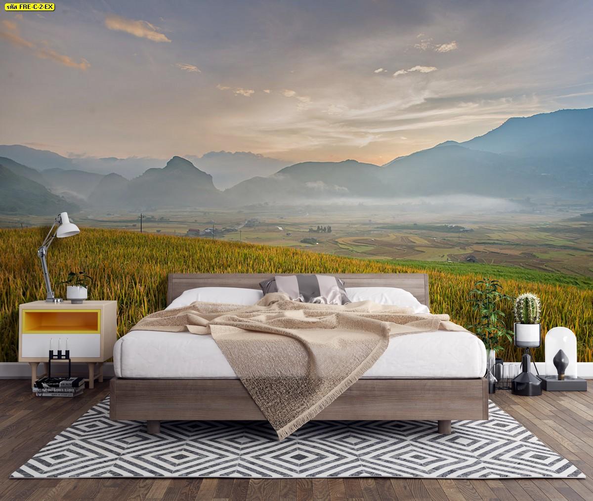 ไอเดียห้องนอนสีพื้นกับรูปภาพสั่งทำติดผนัง สั่งทำภาพวิวภูเขาและทุ่งนาสีทอง
