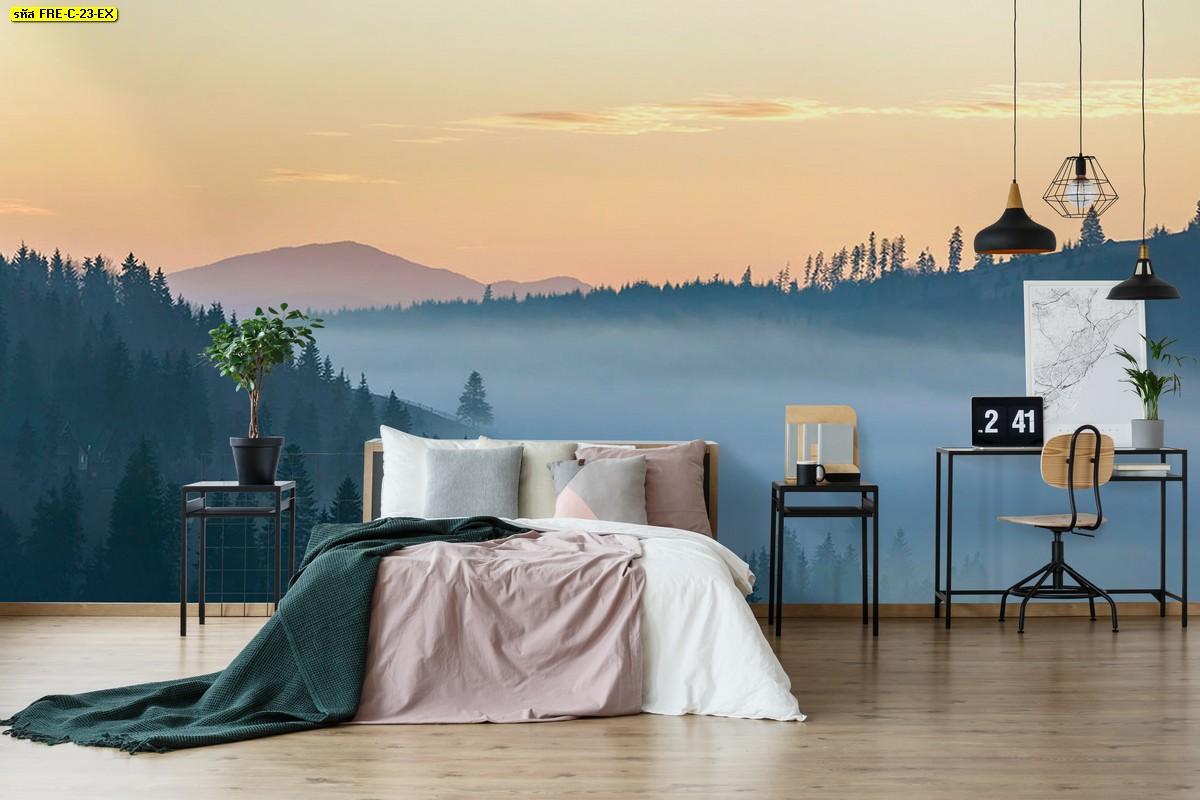 วอลเปเปอร์สั่งพิมพ์ลายวิวภูเขาทะเลหมอกยามเช้า เข้ากับห้องนอนพื้นไม้อย่างดี