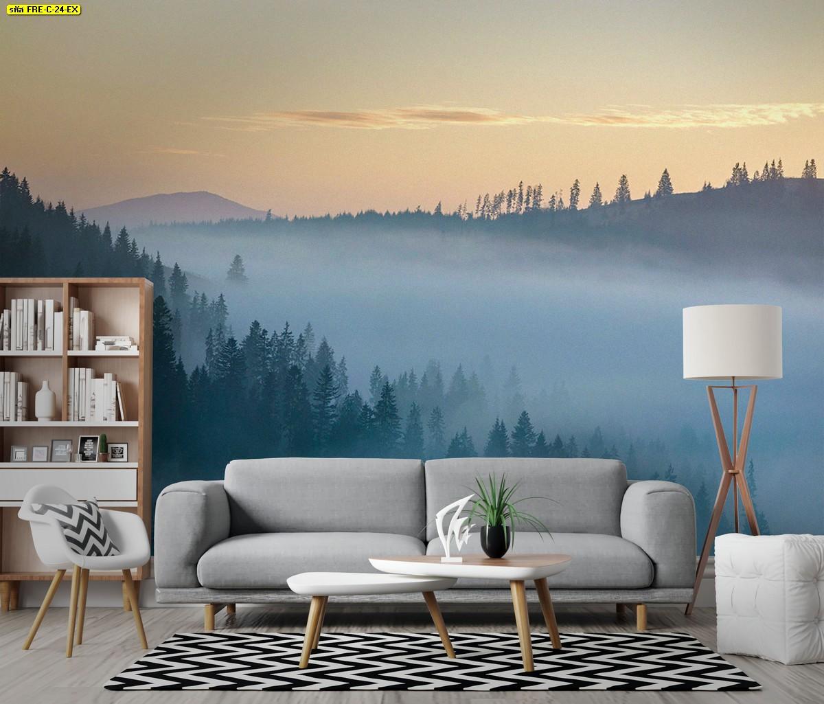วอลเปเปอร์สั่งพิมพ์ลายวิวภูเขาต้นไม้กับทะเลหมอกยามเช้า เข้ากับห้องนั่งเล่นธรรมชาติสวยๆ