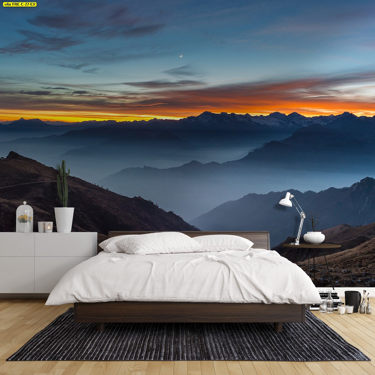 ตกแต่งห้องนอนแบบเรียบง่าย สั่งทำรูปติดผนังลายธรรมชาติภูเขาและพระอาทิตย์ตกดิน