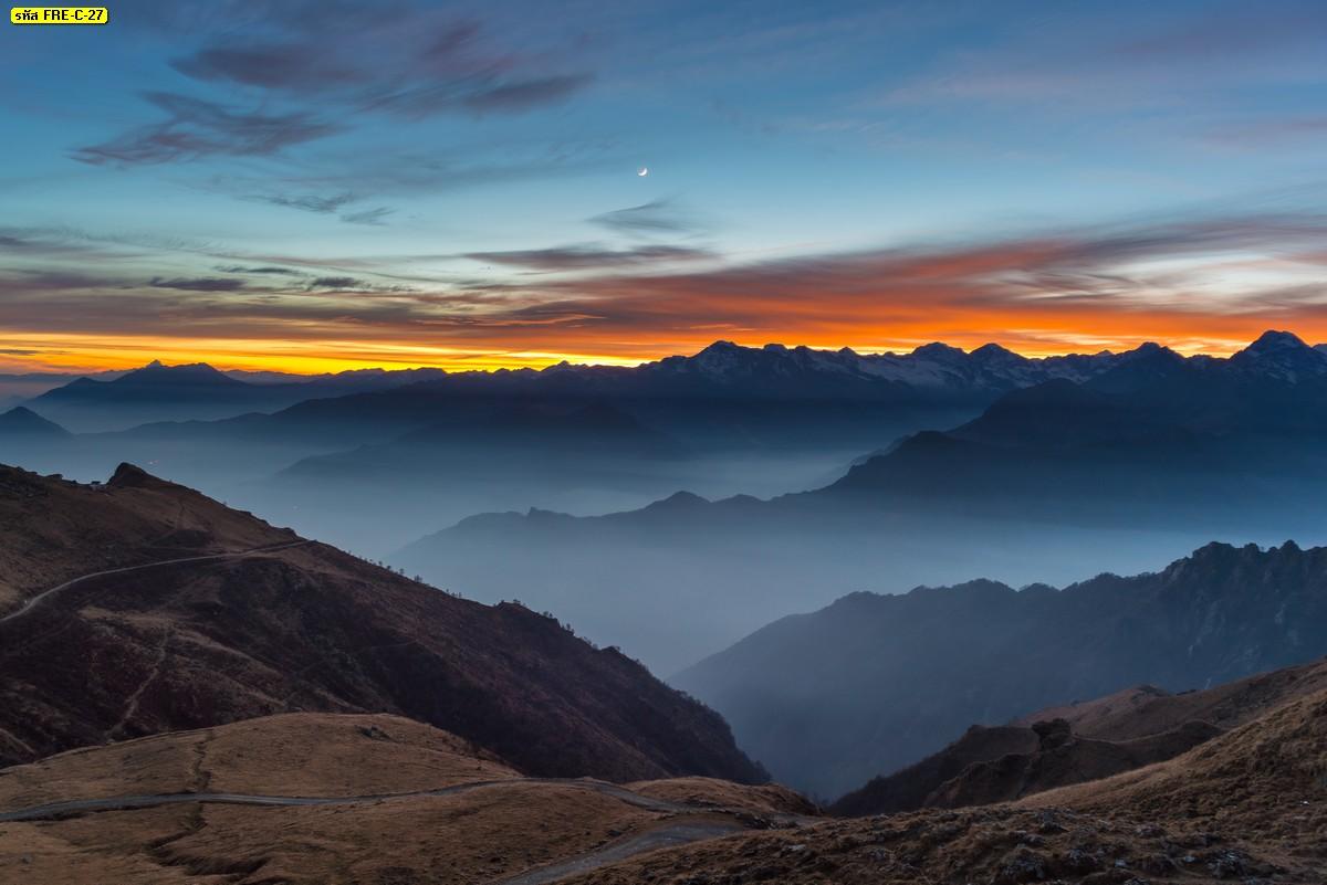 รูปติดผนังลายธรรมชาติภูเขาและพระอาทิตย์ตกดิน