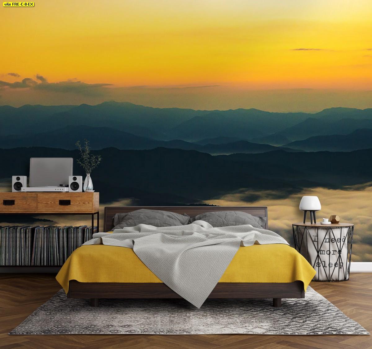 แต่งห้องนอนแบบภาพวิวธรรมชาติภูเขามีหมอกและท้องฟ้าโทนสีเหลืองทอง