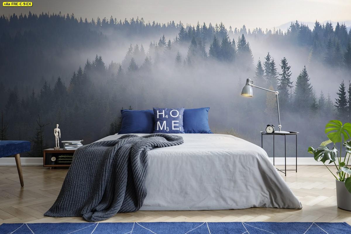 ห้องนอนสีเทาบรรยากาศแห่งการพักผ่อน วอลเปเปอร์วิวป่าไม้และทะเลหมอกช่วงหน้าฝน