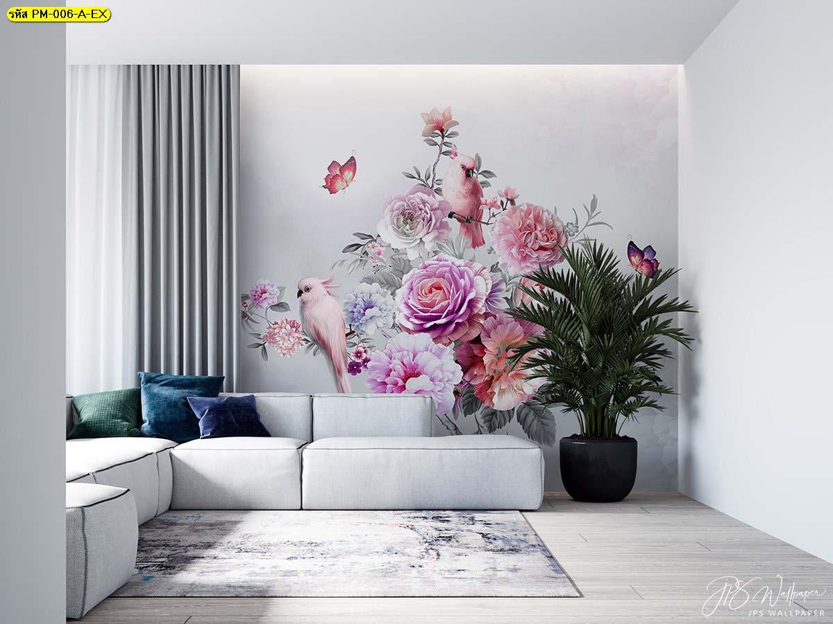 ห้องรับแขก ตกแต่งวอลเปเปอร์เกรดพรีเมี่ยมลายธรรมชาติสวนดอกไม้สไตล์อังกฤษ