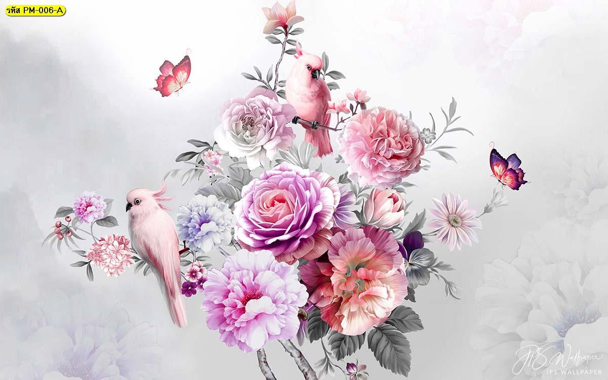 วอลเปเปอร์เกรดพรีเมี่ยมลายธรรมชาติสวนดอกไม้สไตล์อังกฤษ พื้นหลังสีเทา