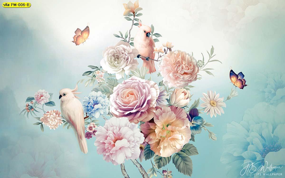 วอลเปเปอร์เกรดพรีเมี่ยมลายธรรมชาติสวนดอกไม้สไตล์อังกฤษ พื้นหลังสีฟ้า