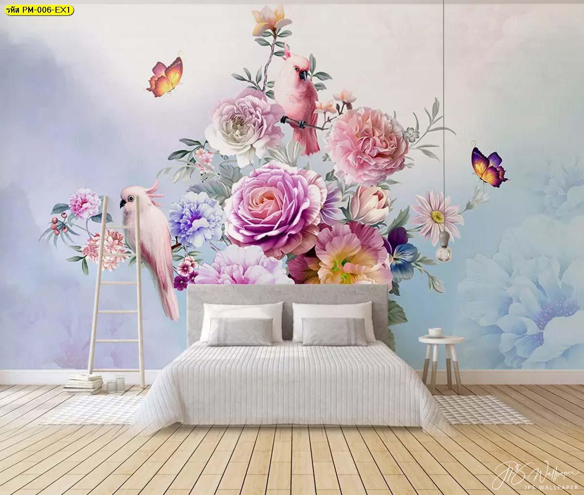 ห้องนอน แต่งผนังสวยหรู วอลเปเปอร์ลายสวนดอกไม้สไตล์อังกฤษ