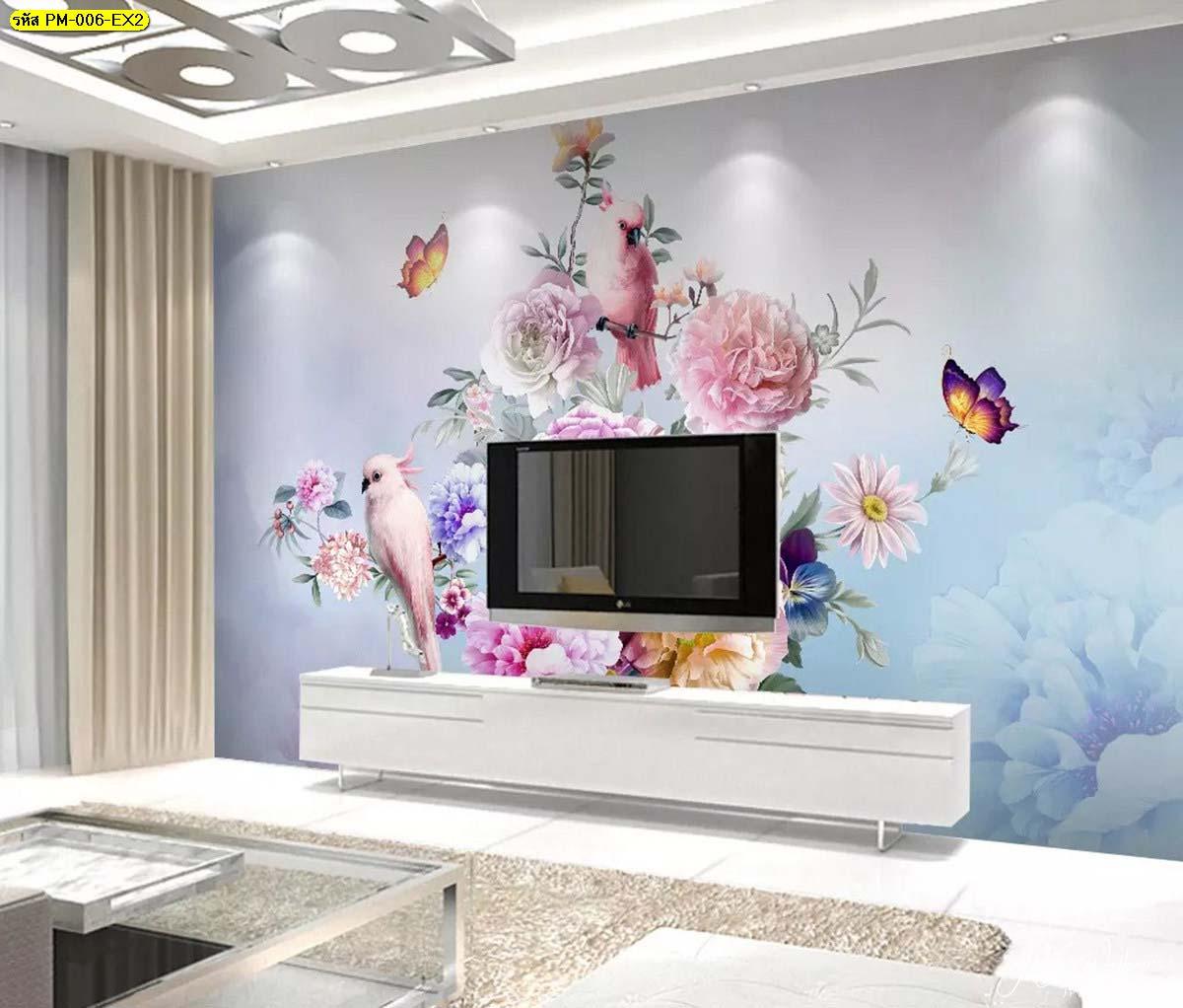 ห้องนั่งเล่นกลางบ้าน ตกแต่งผนังหลังทีวีวอลเปเปอร์ลายธรรมชาติสวนดอกไม้สไตล์อังกฤษ