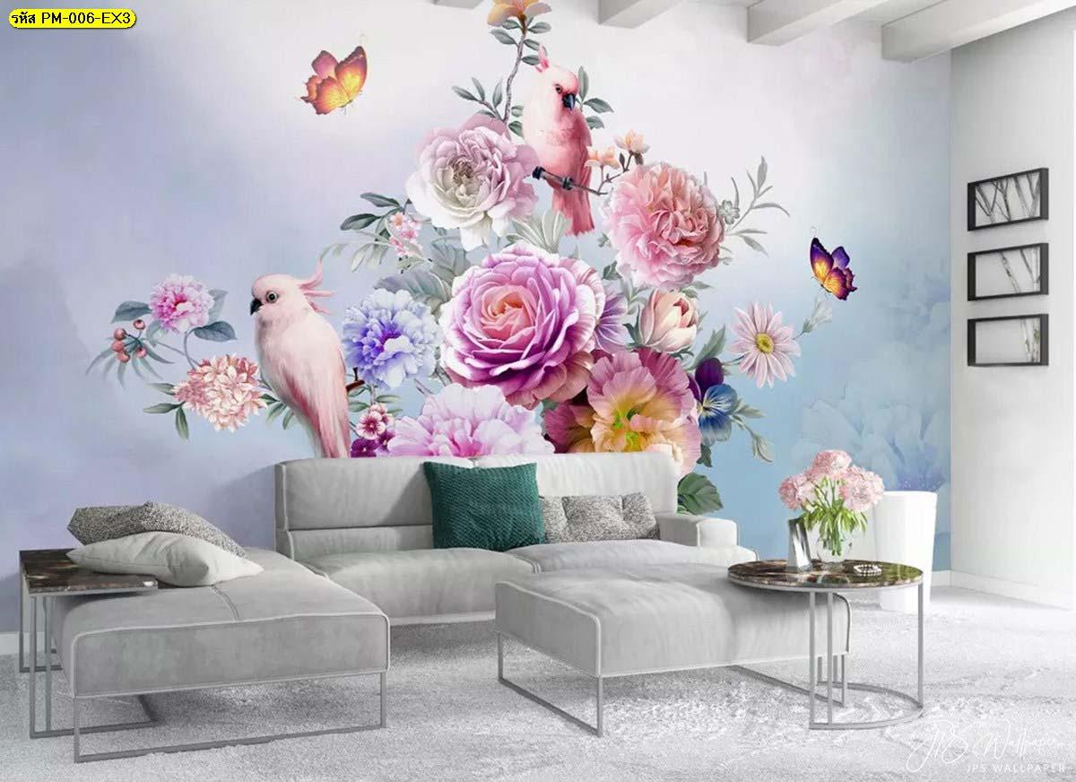 ห้องรับแขกสวยหรู วอลเปเปอร์เกรดพรีเมี่ยมลายธรรมชาติสวนดอกไม้สไตล์อังกฤษ