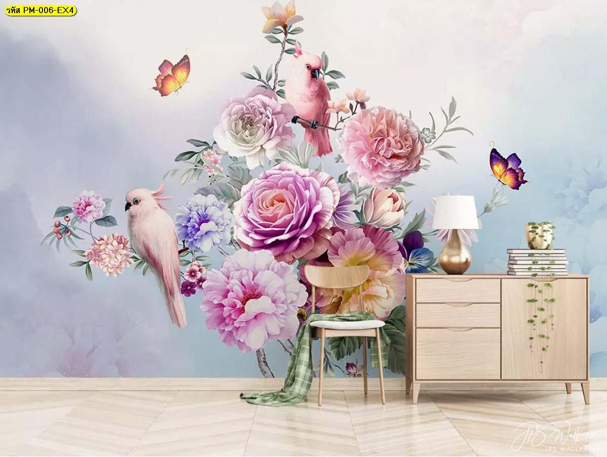 สัมผัสความสวยธรรมชาติในบ้านได้จากการตกแต่งผนังด้วยวอลเปเปอร์ แต่งห้องดอกไม้ ผนังสไตล์วินเทจ
