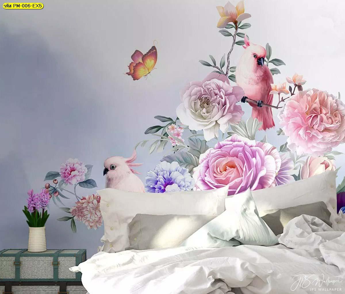 ห้องนอน ตกแต่งวอลเปเปอร์เกรดพรีเมี่ยมลายสวนดอกไม้สไตล์อังกฤษ