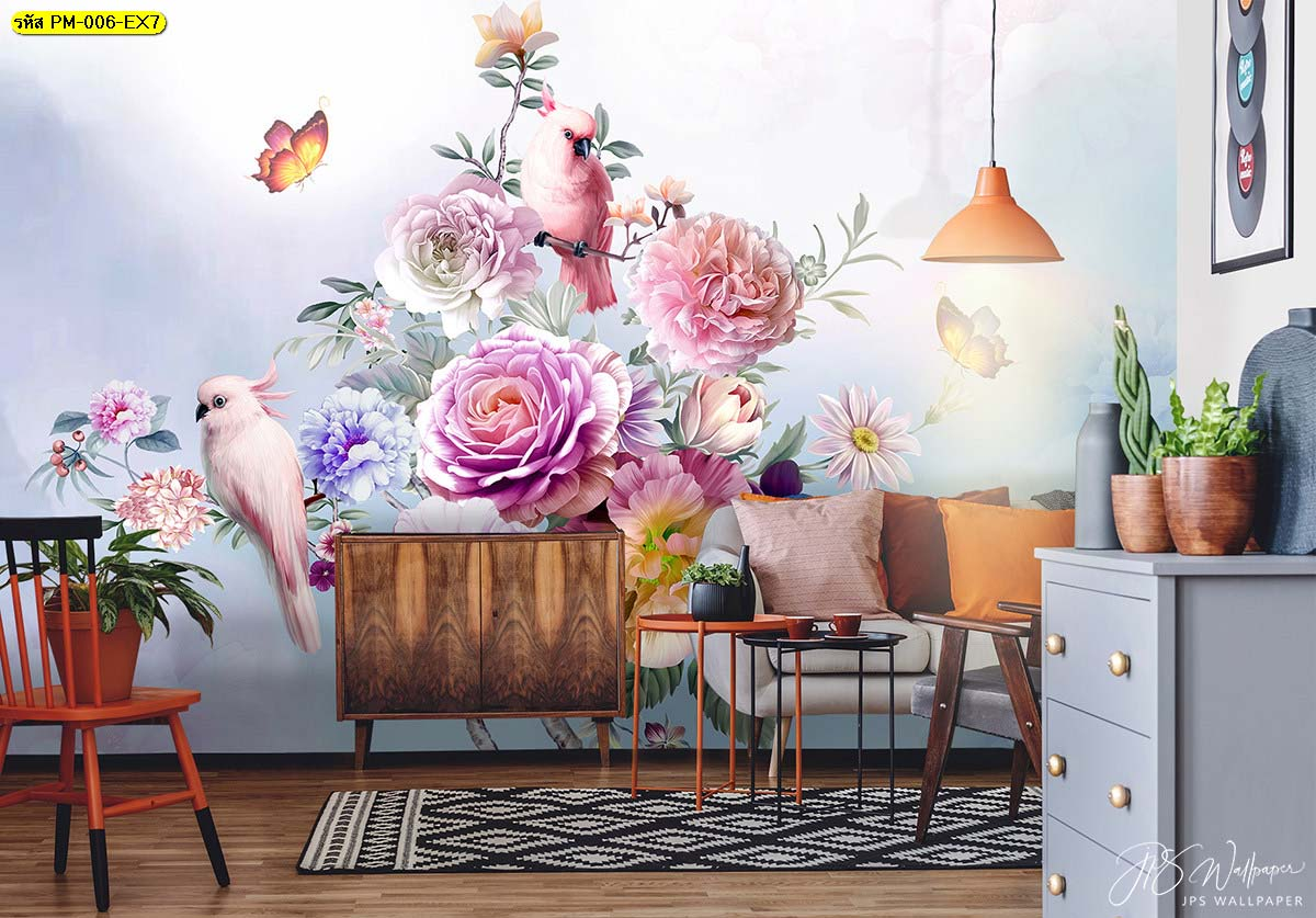 ห้องนั่งเล่นแต่งผนังวอลเปเปอร์เกรดพรีเมี่ยมสวนดอกไม้สไตล์อังกฤษ