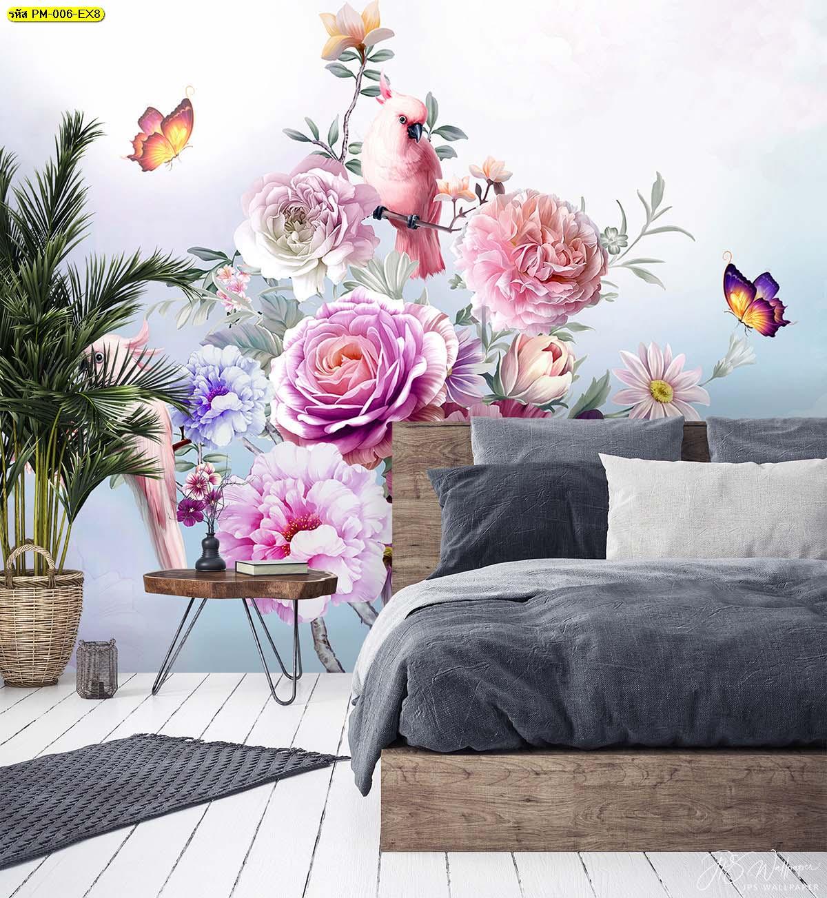 ห้องนอนสวยๆ ตกแต่งผนังลายสวนดอกไม้สไตล์อังกฤษ
