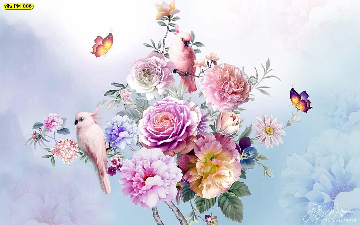 วอลเปเปอร์เกรดพรีเมี่ยมลายธรรมชาติสวนดอกไม้สไตล์อังกฤษ พื้นหลังสีม่วง