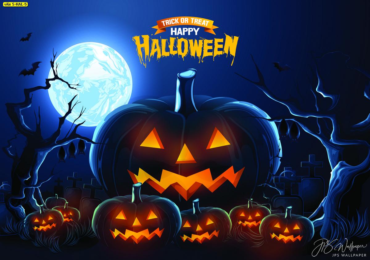 ไอเดียแต่งห้องวันฮาโลวีน แต่งบ้านภาพสั่งทำฟักทองยักษ์พื้นหลังสีดำ Halloween Day