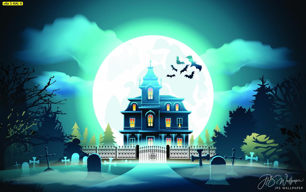 รูปภาพสั่งทำติดผนังปราสาทผีสิงในสุสานพื้นหลังพระจันทร์เต็มดวง บ้านผีสิงวันฮาโลวีน