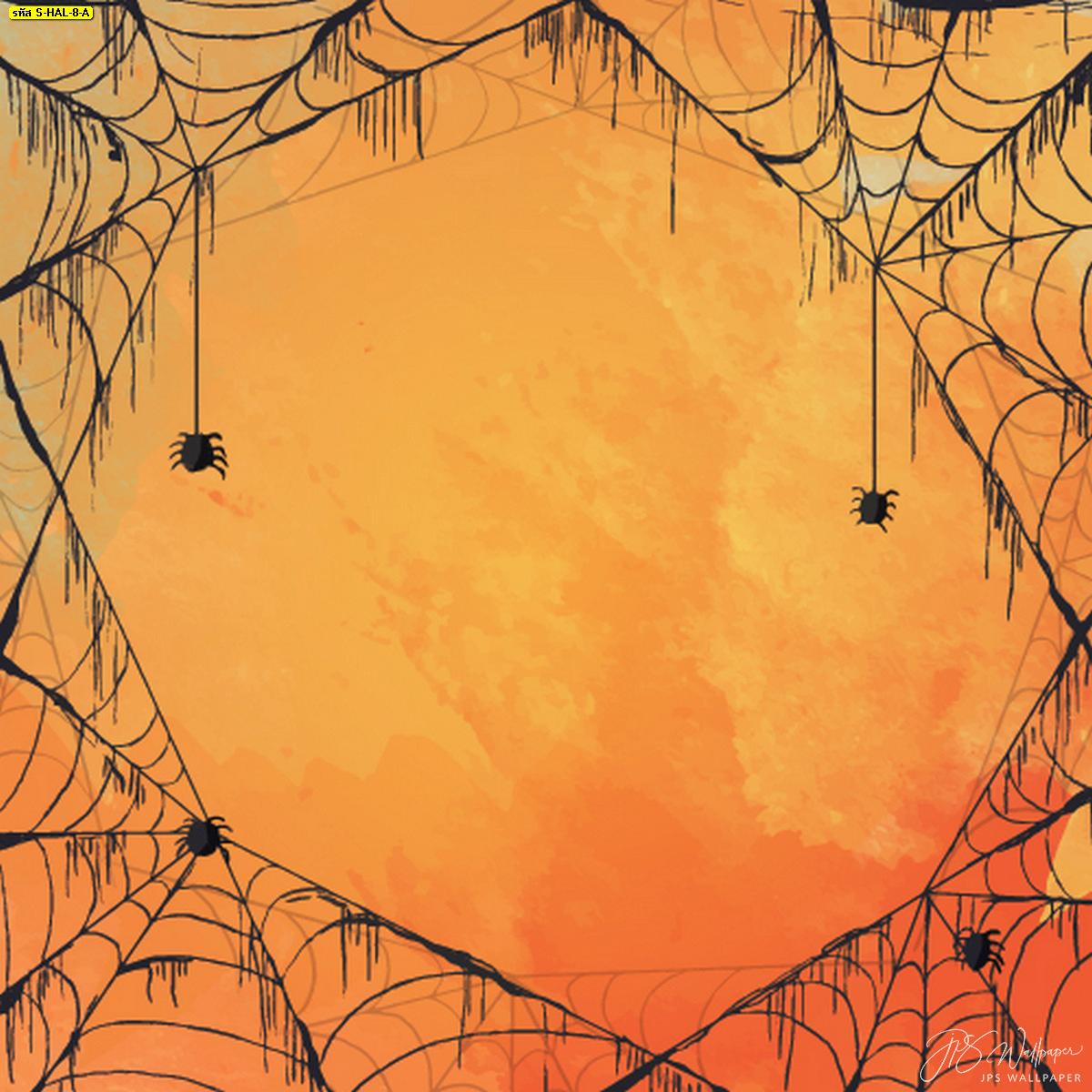 วอลเปเปอร์สั่งทำติดบ้านใยแมงมุมแต่งบ้านวันฮาโลวีน ภาพใยแมงมุมพื้นสีส้ม แต่งบ้านรับฮาโลวีน