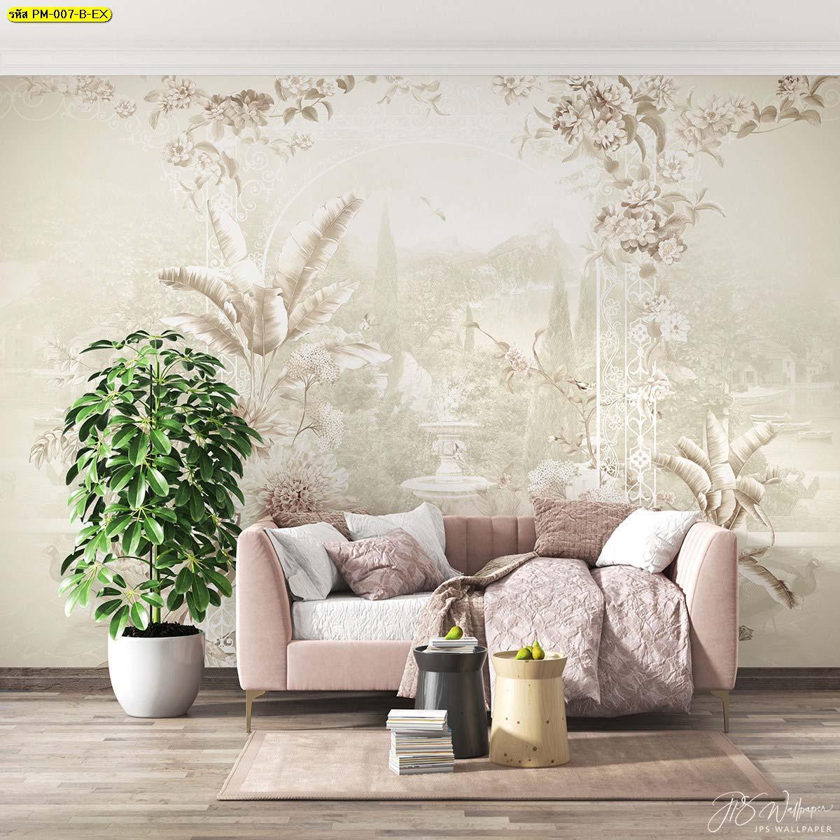 วอลเปเปอร์ติดห้องนั่งเล่น ภาพพื้นหลังลายสวนดอกไม้เกรดพรีเมี่ยมสีน้ำตาลอ่อน
