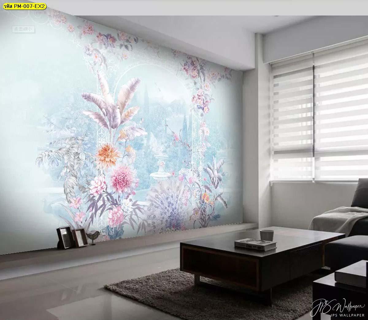 วอลเปเปอร์ติดห้องนั่งเล่น วอลเปเปอร์ติดพื้นหลังลายสวนดอกไม้เกรดพรีเมี่ยมสีฟ้าพาสเทล